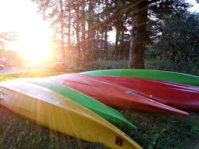 Colorful Kayaks at Sunrise