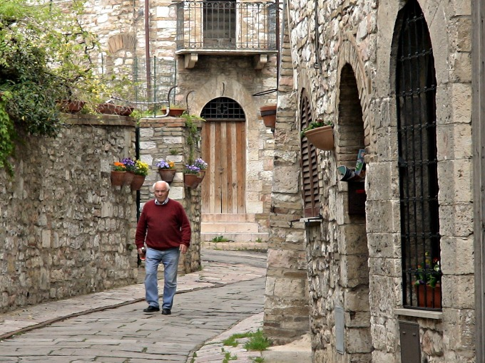 Man Walking in Assisi, Italy